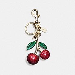 COACH F58516 Resin Cherry Bag Charm GOLD/RED