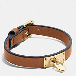 COACH F58519 Signature C Leather Buckle Bracelet GOLD/SADDLE