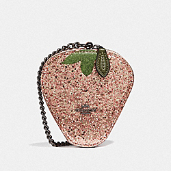 COACH F58547 Strawberry Coin Case BLUSH/BLACK ANTIQUE NICKEL