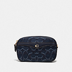 CONVERTIBLE BELT BAG IN SIGNATURE DENIM - F58550 - DENIM/LIGHT GOLD