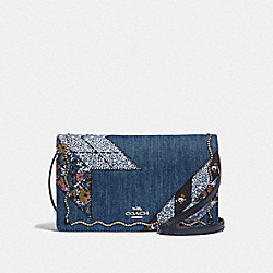 HAYDEN FOLDOVER CROSSBODY CLUTCH WITH STAR PATCHWORK - F58552 - DENIM MULTI/SILVER