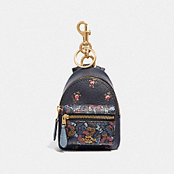 COACH F58553 - BACKPACK COIN CASE WITH FLORAL DITSY PRINT MIDNIGHT MULTI/GOLD