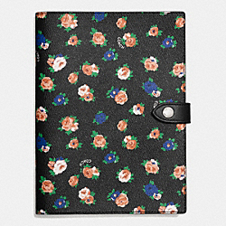 COACH F58570 Black Tea Rose Floral Notebook BLACK/MULTICOLOR