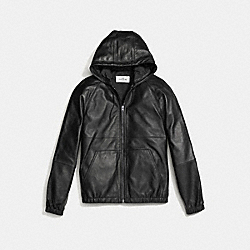 COACH LEATHER TRAINER JACKET - BLACK - F58582