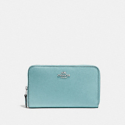 COACH F58584 Medium Zip Around Wallet MARINE/SILVER