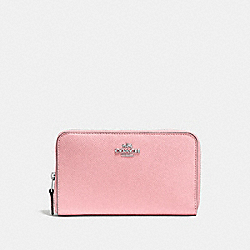 COACH F58584 Medium Zip Around Wallet PEONY/SILVER