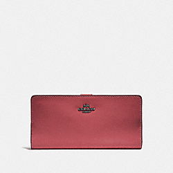 COACH F58586 Skinny Wallet WASHED RED/DARK GUNMETAL
