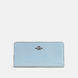 COACH F58586 Skinny Wallet DARK GUNMETAL/PALE BLUE