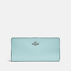 COACH F58586 - SKINNY WALLET SV/LIGHT TURQUOISE