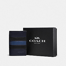 COACH F58595 - BOXED BIFOLD CARD CASE WITH VARSITY STRIPE NAVY/DENIM