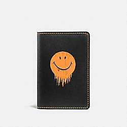 COACH F58627 - CARD WALLET WITH GNARLY FACE PRINT BLACK