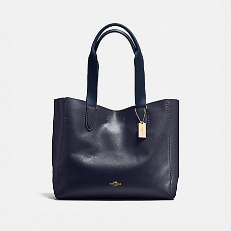 COACH f58660 DERBY TOTE IN PEBBLE LEATHER LIGHT GOLD/MIDNIGHT