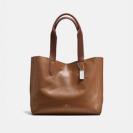 COACH f58660 DERBY TOTE IN PEBBLE LEATHER SILVER/SADDLE/BLACK