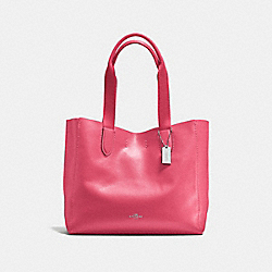 COACH F58660 Derby Tote In Pebble Leather SILVER/STRAWBERRY BRIGHT RED