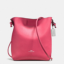 DERBY CROSSBODY IN PEBBLE LEATHER - f58661 - SILVER/STRAWBERRY BRIGHT RED