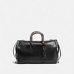 ROGUE SATCHEL 36 IN GLOVETANNED PEBBLE LEATHER WITH PATCHWORK SNAKE HANDLE - f58689 - BLACK COPPER/BLACK