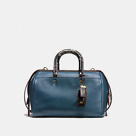 COACH f58690 ROGUE SATCHEL WITH PATCHWORK SNAKESKIN HANDLE DARK DENIM/OLD BRASS