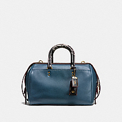 ROGUE SATCHEL IN GLOVETANNED PEBBLE LEATHER WITH PATCHWORK SNAKE HANDLE - f58690 - OLD BRASS/DARK DENIM