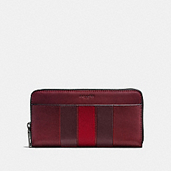 ACCORDION WALLET WITH VARSITY STRIPE - F58692 - BRICK RED/OXBLOOD/CHERRY