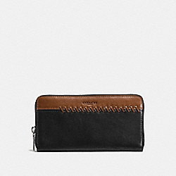 COACH F58694 Rip And Repair Accordion Wallet BLACK/SADDLE