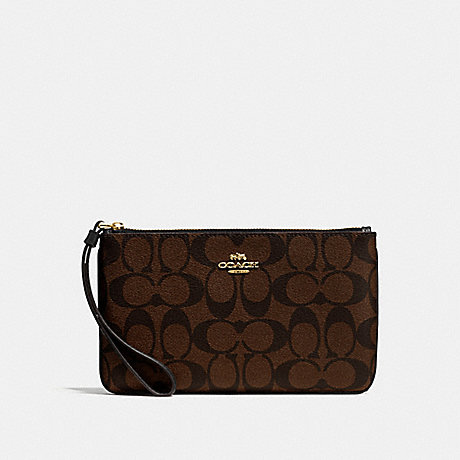 COACH F58695 LARGE WRISTLET IN SIGNATURE CANVAS BROWN/BLACK/LIGHT-GOLD