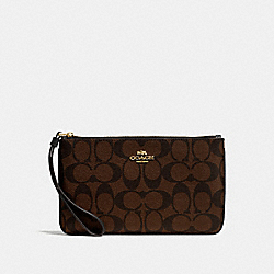 COACH F58695 - LARGE WRISTLET IN SIGNATURE CANVAS BROWN/BLACK/LIGHT GOLD