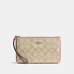 COACH F58695 Large Wristlet In Signature Canvas LIGHT KHAKI/PEONY/LIGHT GOLD