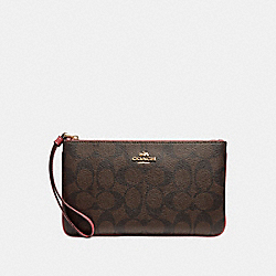 COACH F58695 Large Wristlet LIGHT GOLD/BROWN ROUGE