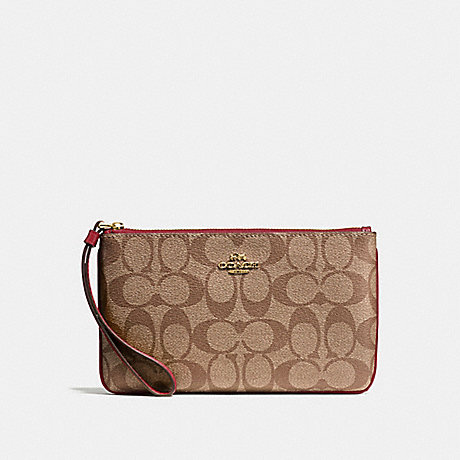 COACH F58695 LARGE WRISTLET IN SIGNATURE CANVAS KHAKI/CHERRY/LIGHT-GOLD