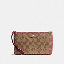 COACH F58695 Large Wristlet In Signature Coated Canvas IMITATION GOLD/KHAKI/BRIGHT PINK
