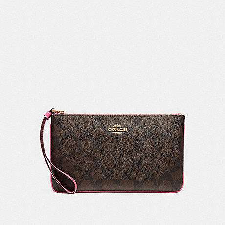 COACH F58695 LARGE WRISTLET IN SIGNATURE CANVAS BROWN-/PINK/LIGHT-GOLD