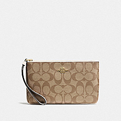 COACH F58695 Large Wristlet In Signature Canvas KHAKI/CHALK/GOLD