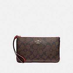 COACH F58695 Large Wristlet In Signature Canvas BROWN/TRUE RED/IMITATION GOLD