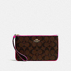 COACH LARGE WRISTLET IN SIGNATURE COATED CANVAS - LIGHT GOLD/BROWN BRIGHT FUCHSIA 2 - F58695