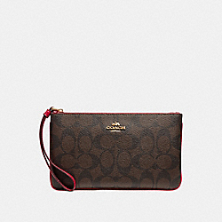 COACH F58695 Large Wristlet In Signature Canvas BROWN/RUBY/IMITATION GOLD