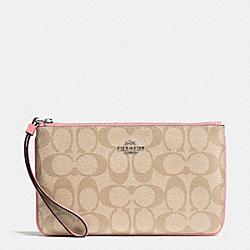 COACH F58695 Large Wristlet In Signature Coated Canvas SILVER/LIGHT KHAKI/BLUSH