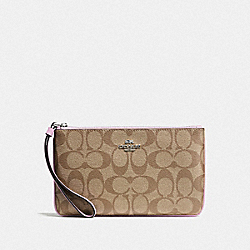 COACH F58695 Large Wristlet In Signature Canvas KHAKI/LILAC/SILVER