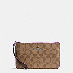 LARGE WRISTLET IN SIGNATURE COATED CANVAS - f58695 - SILVER/KHAKI