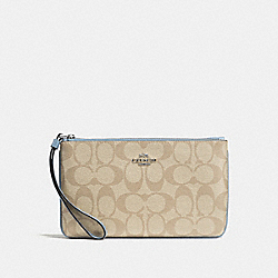COACH F58695 Large Wristlet In Signature Canvas LT KHAKI/CORNFLOWER/SILVER