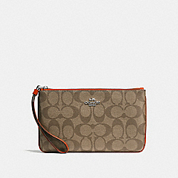 COACH F58695 Large Wristlet KHAKI/ORANGE RED/SILVER