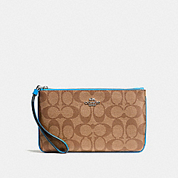 COACH F58695 Large Wristlet In Signature Canvas KHAKI/BRIGHT BLUE/SILVER
