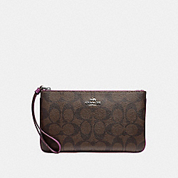 COACH F58695 Large Wristlet In Signature Canvas BROWN/AZALEA/SILVER