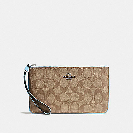 COACH F58695 LARGE WRISTLET IN SIGNATURE CANVAS KHAKI/PALE-BLUE/SILVER