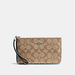 COACH F58695 Large Wristlet In Signature Canvas KHAKI/PALE BLUE/SILVER