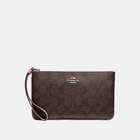 COACH F58695 LARGE WRISTLET IN SIGNATURE CANVAS BROWN/DUSTY-ROSE/SILVER