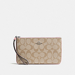 COACH F58695 Large Wristlet In Signature Canvas LIGHT KHAKI/CARNATION/SILVER