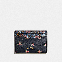COACH F58717 - CARD CASE WITH DITSY FLORAL PRINT MIDNIGHT MULTI/GOLD