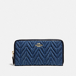 COACH F58718 Accordion Zip Wallet With Quilting DENIM/LIGHT GOLD