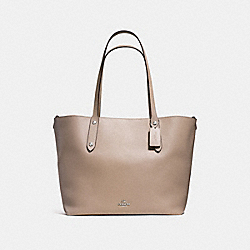 LARGE MARKET TOTE IN POLISHED PEBBLE LEATHER - f58737 - SILVER/STONE
