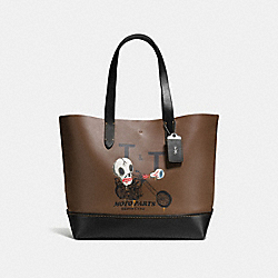 GOTHAM TOTE WITH WILD MOTO PRINT - F58770 - DARK SADDLE/BLACK
